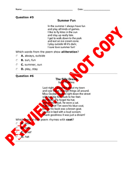 2nd Grade RL.2.4: CCSS Rhythm and Meaning Assessment Bank