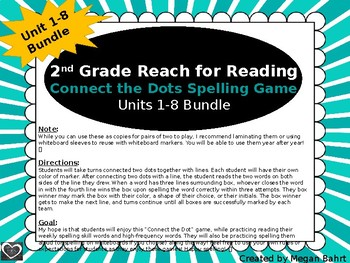 2nd Grade Reach for Reading Spelling Game (Connect the Dots) Units 1-8