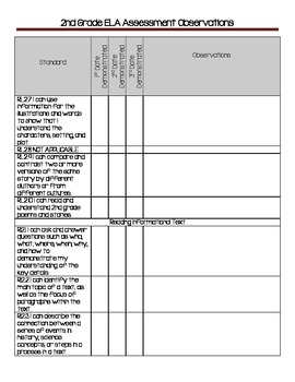 2nd Grade Reading CCSS Assessment and Observation Log