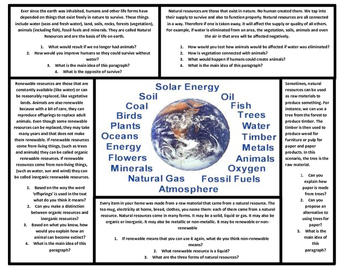 2nd Grade Reading Comprehension Natural Resources Articles