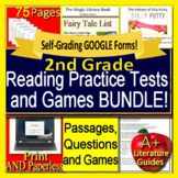 2nd Grade Reading Comprehension Passages, Questions Games SELF-GRADING Test Prep