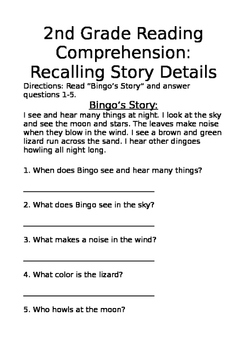 Second Grade Reading Comprehension Worksheets & Teaching Resources | TpT