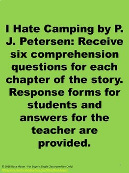 I Hate Camping Summer Literacy
