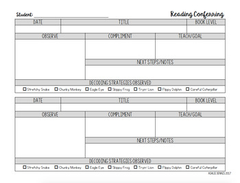 2nd Grade Reading Conferring EDITABLE - Missouri Learning Standards