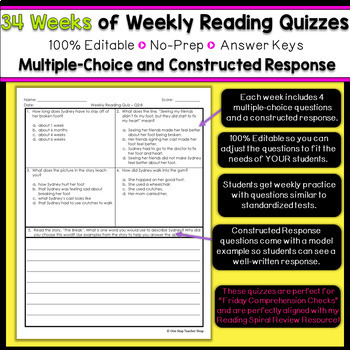 2nd Grade Reading Spiral Review | Reading Comprehension Passages & Questions