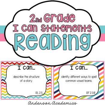 """2nd Grade """"I Can"""" Statements: Reading - Rainbow"""