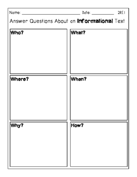 2nd Grade Reading Informational Text Graphic Organizers for CCSS