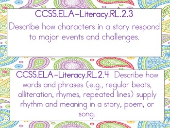 2nd Grade Reading Literature Standards for display