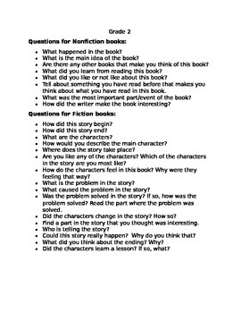 2nd Grade Reading Log with Parent Questions