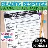2nd Grade Reading Response Activities - printable & digital