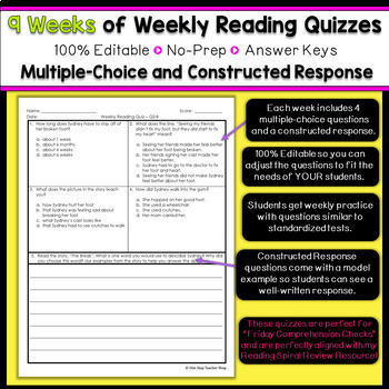 2nd Grade Reading Spiral Review | Reading Comprehension Passages | 2nd Quarter