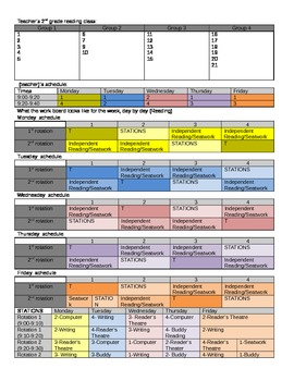 2nd Grade Reading Rotation Schedule Editable