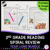 2nd Grade Reading Spiral Review - Full Year Bundle Google Distance Learning Pack