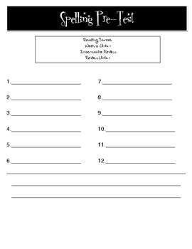 2nd Grade Reading Street (Common Core Edition) Pre-Test Spelling Sheet