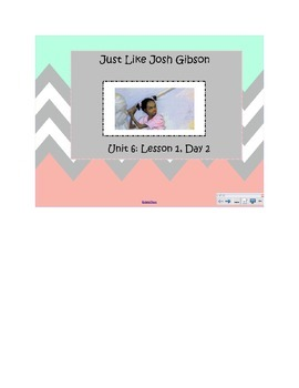 2nd Grade Reading Street Common Core Reading Slides (Just Like Josh Gibson)