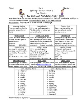 Reading Street 2008 2nd Grade Differentiated Spelling Homework Unit 5 (L.2.2.d)