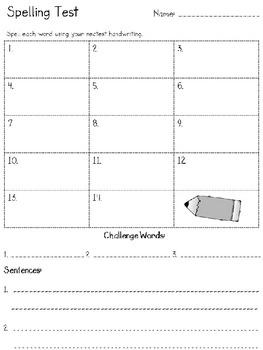 2nd Grade Reading Street: Spelling Test (template freebie)
