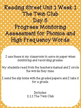 2nd Grade Reading Street Twin Club Progress Monitor Sample