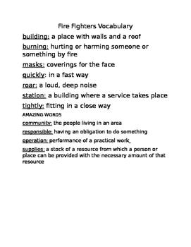 2nd Grade Reading Street Unit 5 Week 1 Fire Fighters Vocabulary list