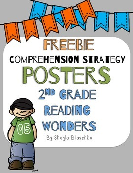 2nd Grade Reading Wonders COMPREHENSION STRATEGY Posters/Anchor Charts FREEBIE