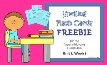 2nd Grade Reading Wonders Spelling Flash Cards FREEBIE! ~