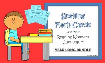2nd Grade Reading Wonders Spelling Flash Cards - YEAR LONG BUNDLE!