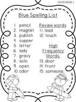 2nd Grade Reading Wonders Spelling Pack_Unit 6