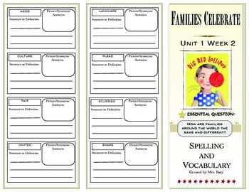 2nd Grade Reading Wonders Spelling/Vocabulary Unit 1