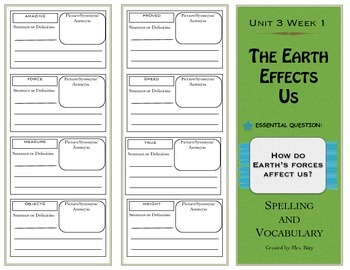2nd Grade Reading Wonders Spelling/Vocabulary Unit 3