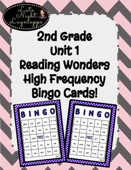 2nd Grade Reading Wonders UNIT 1 High Frequency BINGO!