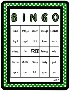 2nd Grade Reading Wonders Unit 2 High Frequency BINGO!
