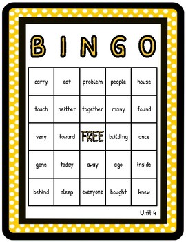2nd Grade Reading Wonders Unit 4 High Frequency BINGO!