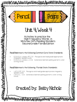 2nd Grade Reading Wonders Unit 4 Week 4 HFW Pencil Pairs