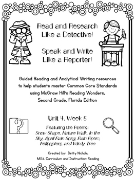 2nd Grade Reading Wonders Unit 4 Week 5 Guided Reading & Analytical Writing Pack