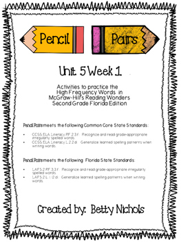 2nd Grade Reading Wonders Unit 5 HFW Pencil Pairs Combo Pack