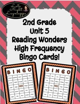 2nd Grade Reading Wonders Unit 5 High Frequency BINGO!