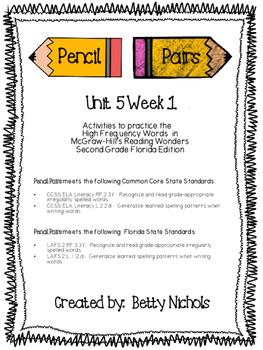 2nd Grade Reading Wonders Unit 5 Week 1 HFW Pencil Pairs