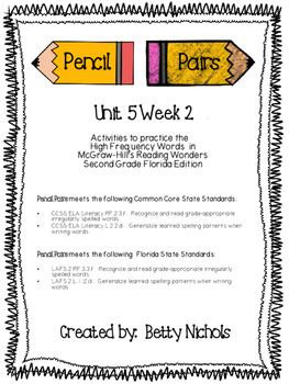 2nd Grade Reading Wonders Unit 5 Week 2 HFW Pencil Pairs