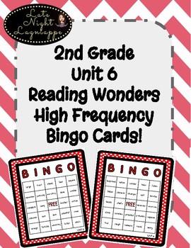 2nd Grade Reading Wonders Unit 6 High Frequency BINGO!