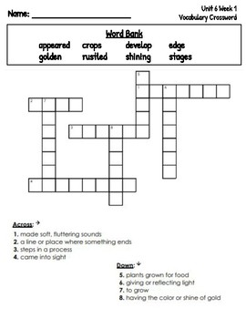 2nd Grade Reading Wonders Unit 6 Spelling Word Searches & Vocabulary Crosswords