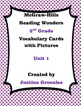 2nd Grade Reading Wonders Vocabulary Cards with Definitions and pictures unit 1