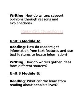 2nd Grade ReadyGen Essential Questions (Unit1-6)