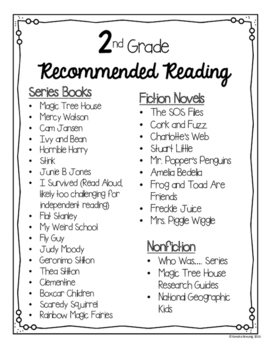 2nd Grade Recommended Reading List