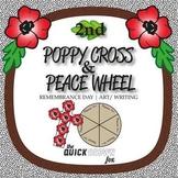 2nd Grade Remembrance Day Poppy Cross & Peace Wheel - Art & Writing