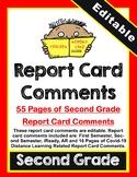 Second Grade Report Card Comments COVID-19 (Editable)