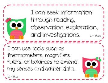 "2nd Grade SCIENCE ""I Can"" Statements for MARYLAND - OWL THEME"