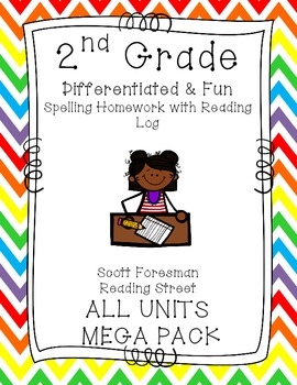 2nd Grade SF Reading Street Homework MEGA PACK ALL UNITS- Spelling & Reading Log