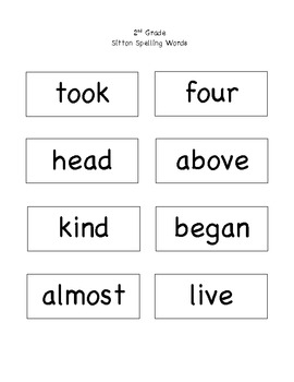 2nd Grade SItton Spelling Words for Posting