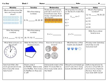 2nd Grade SOLs - Math Spiral Review for Weeks 1-9