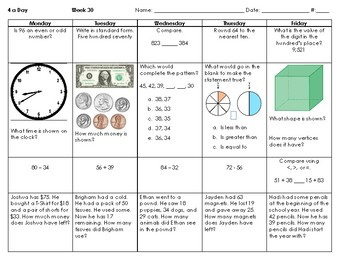 2nd Grade SOLs - Math Spiral Review for Weeks 28-36